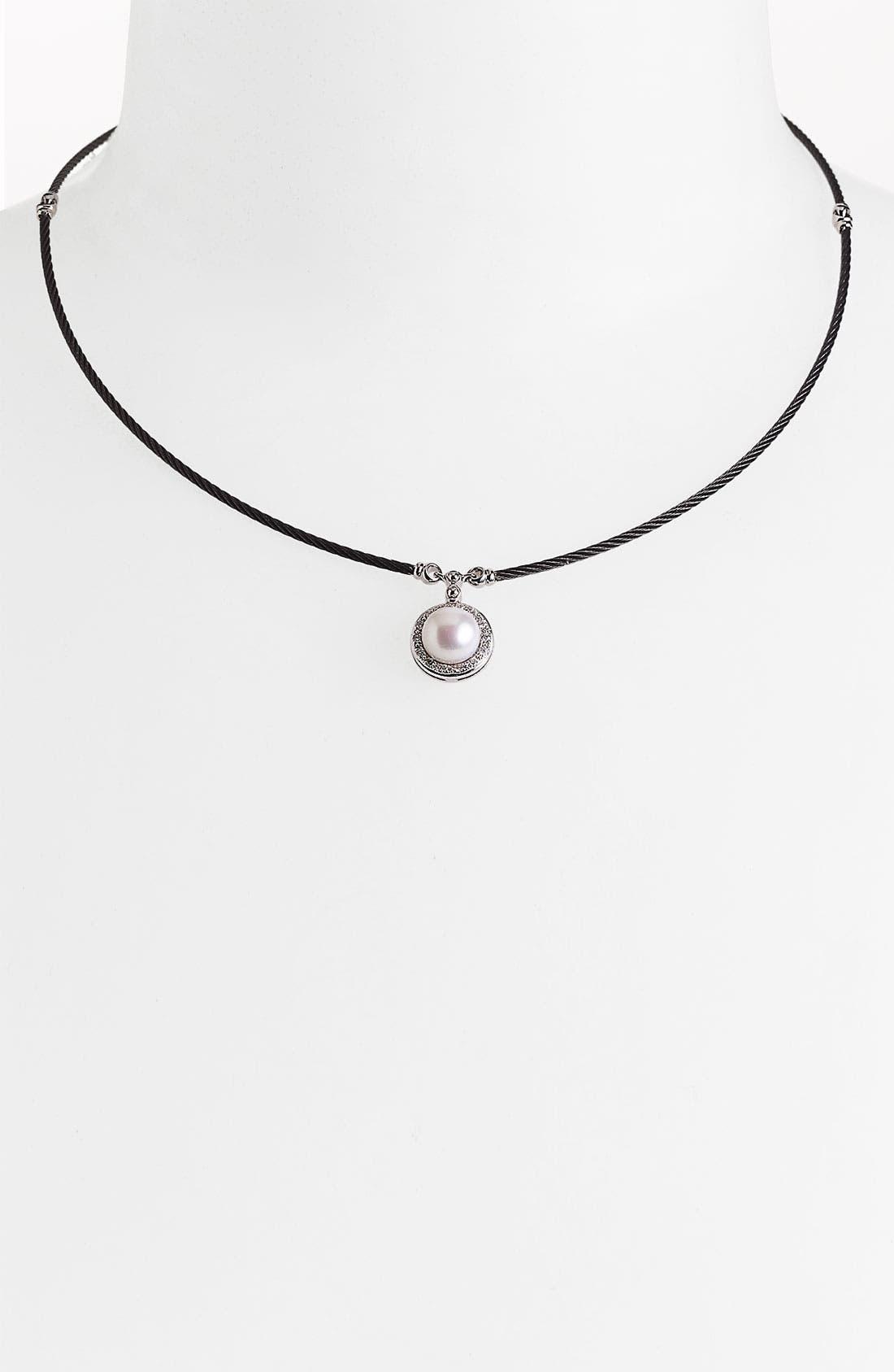 Main Image - ALOR® Pearl & Diamond Pendant Necklace