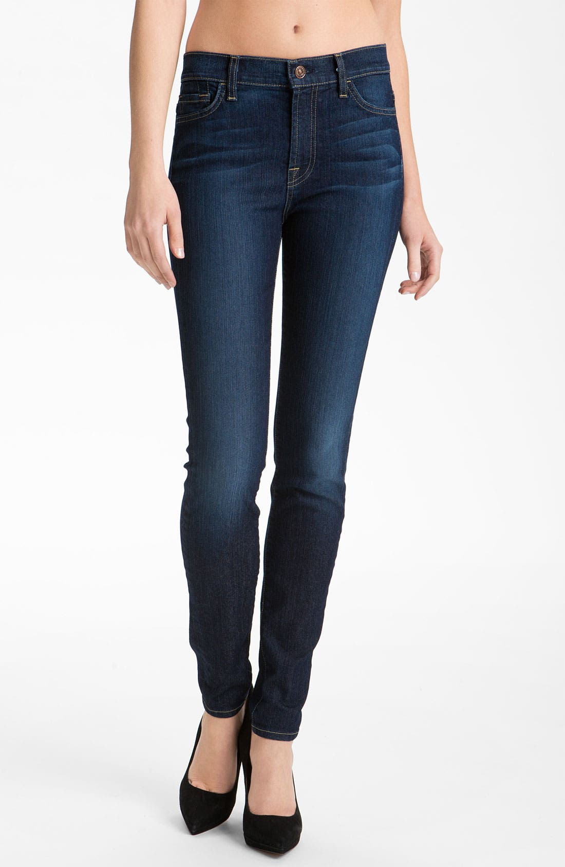 Main Image - 7 For All Mankind® 'The Skinny' Stretch Jeans (Rich Warm Blue) (Online Exclusive)