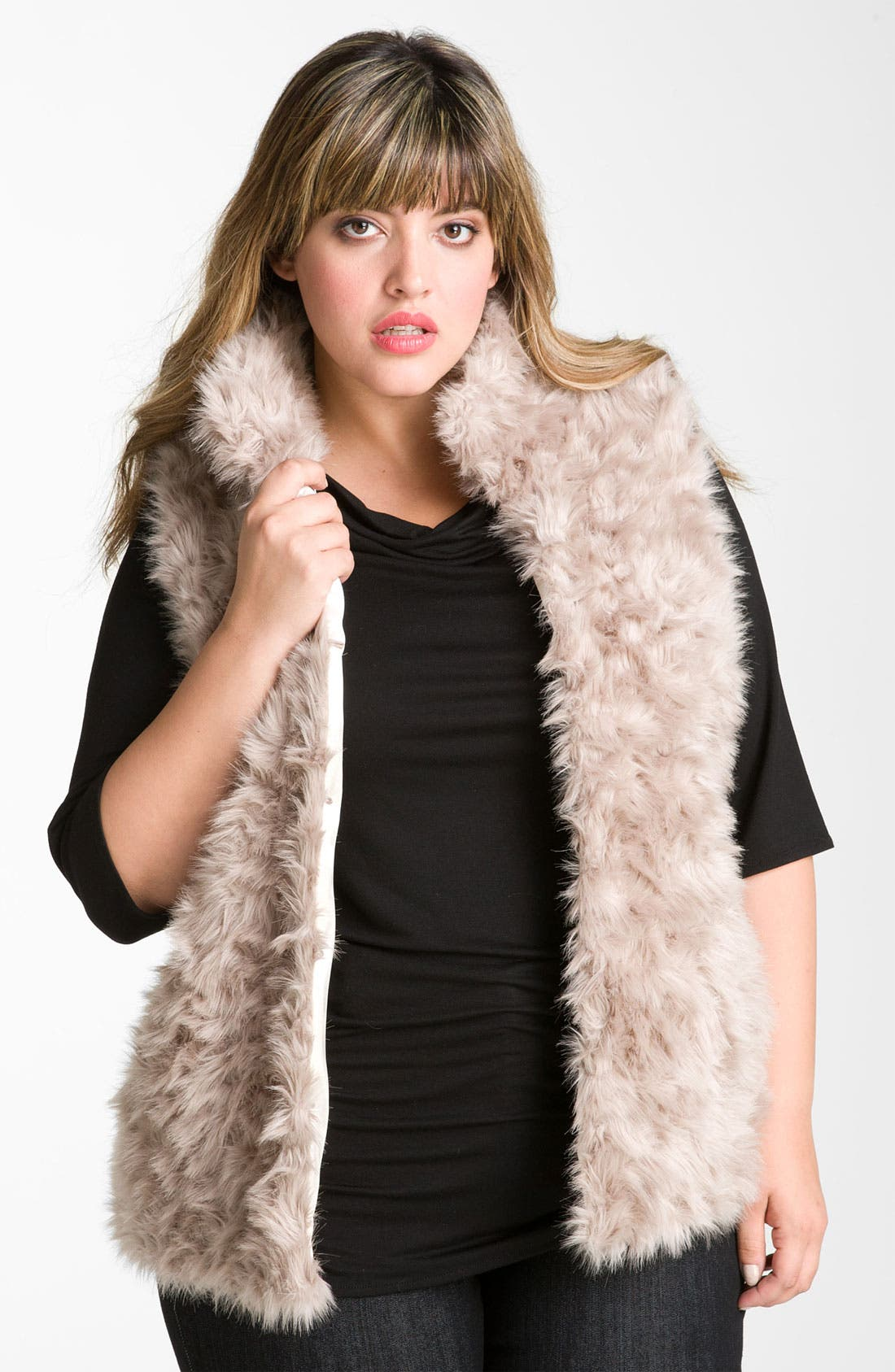 Alternate Image 1 Selected - Damselle Stand Collar Faux Fur Vest (Plus Size) (Nordstrom Online Exclusive)