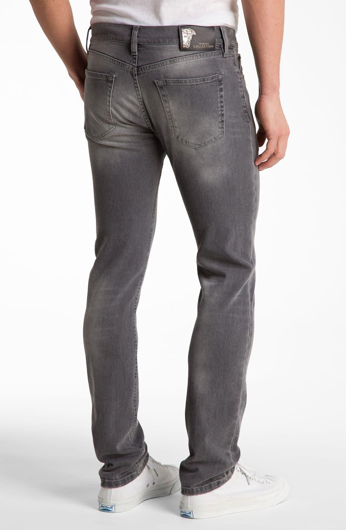 Alternate Image 2  - Versace Slim Straight Jeans (Grey)