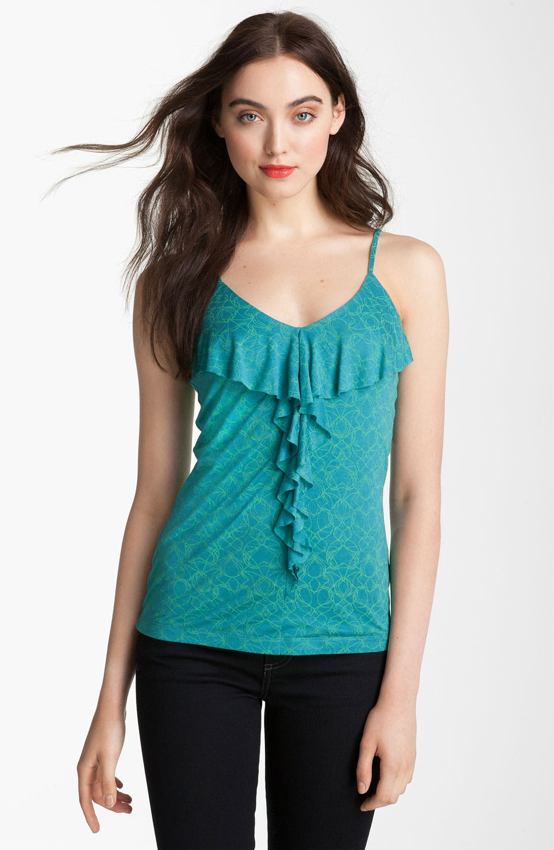 Alternate Image 1 Selected - Halogen® Ruffle Front Knit Tank