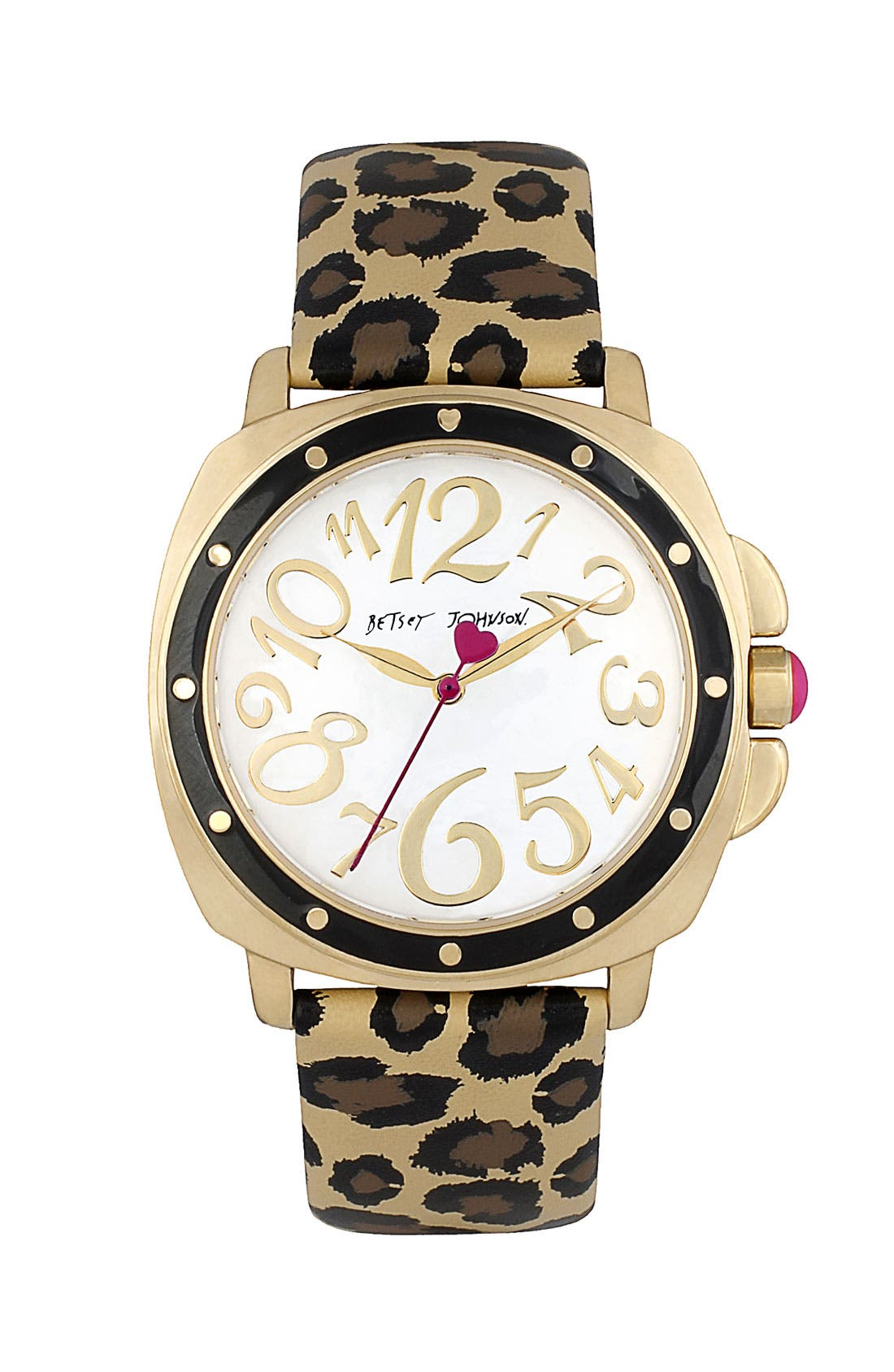 Main Image - Betsey Johnson Round Dial Leopard Strap Watch