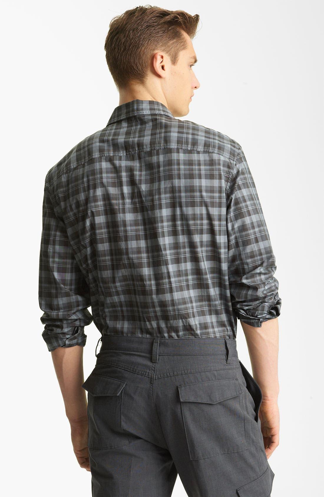 Alternate Image 2  - John Varvatos Collection Pickstitch Plaid Woven Shirt