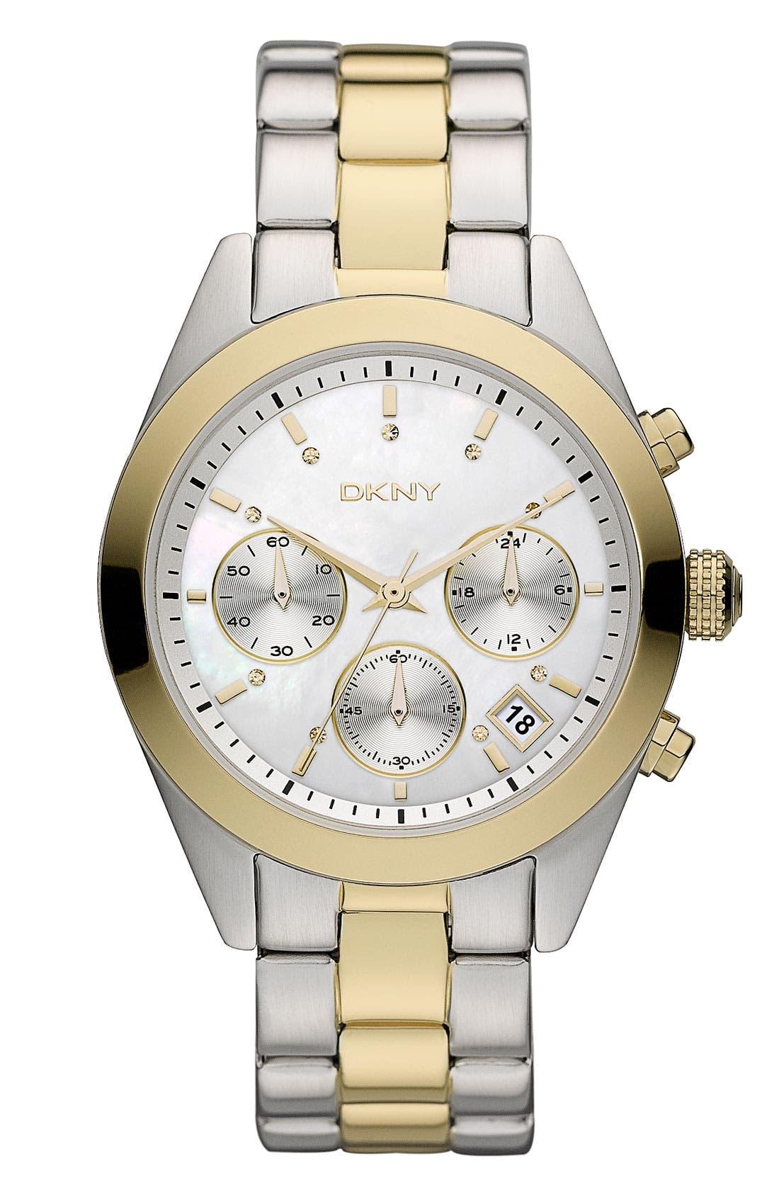 Main Image - DKNY 'Street Smart - Medium' Two Tone Bracelet Watch