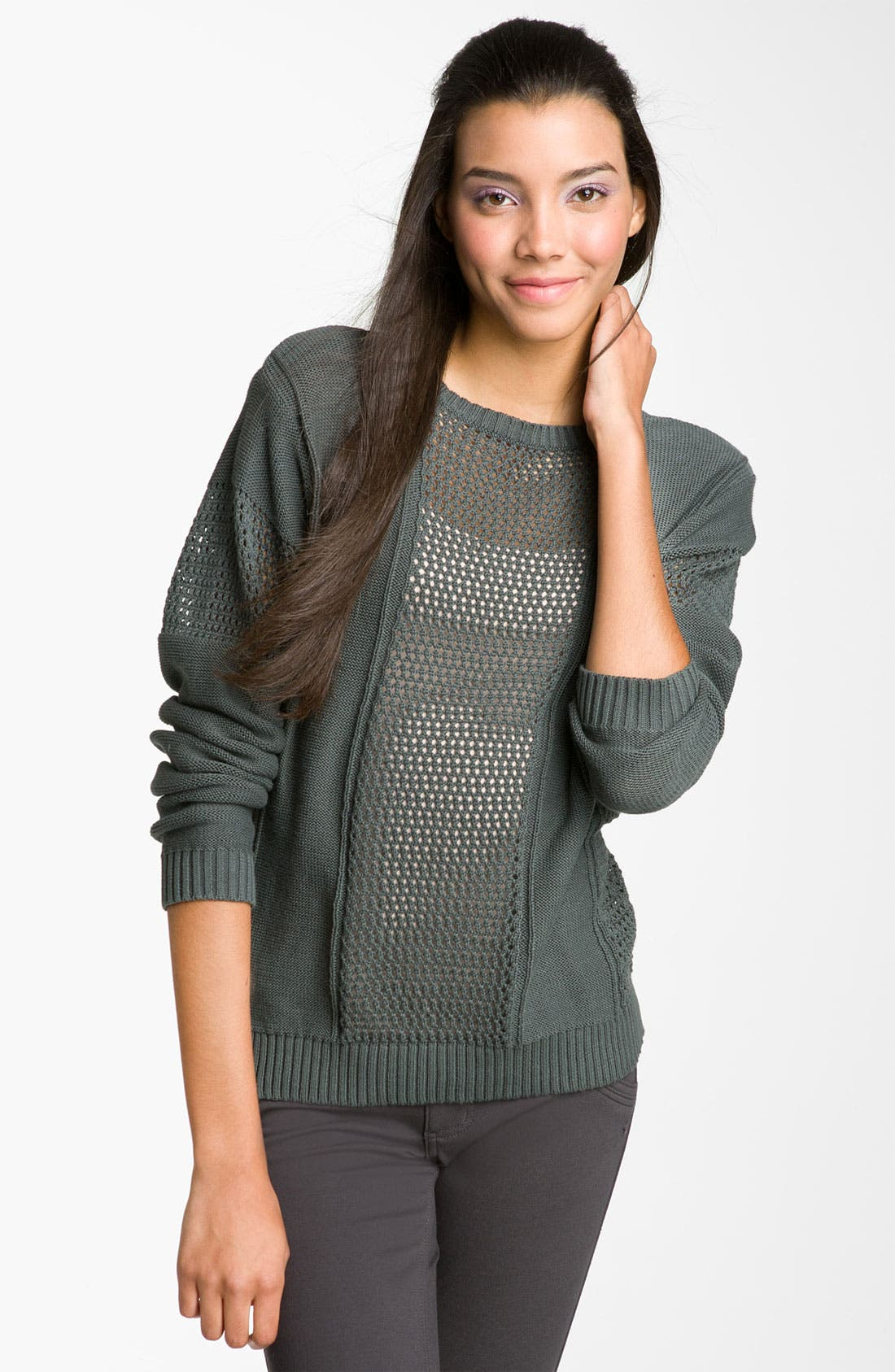 Main Image - Rubbish® Open-Weave Panel Sweater (Juniors)
