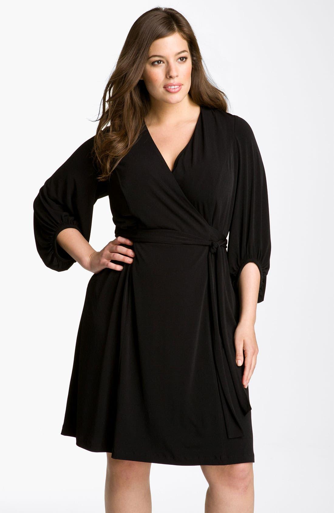 Alternate Image 1 Selected - Donna Ricco Faux Wrap Jersey Dress (Plus Size)