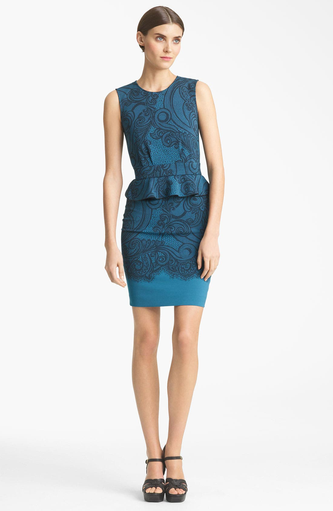 Peplum Jersey Dress,                         Main,                         color, Teal