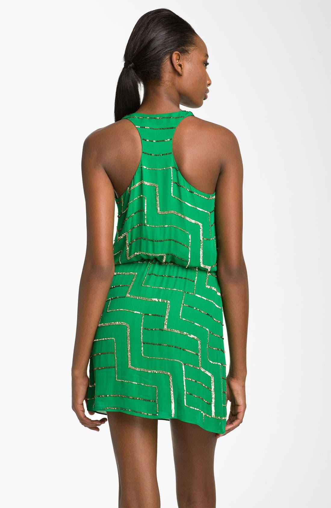 Alternate Image 2  - Parker Silk Geometric Sequin Slipdress