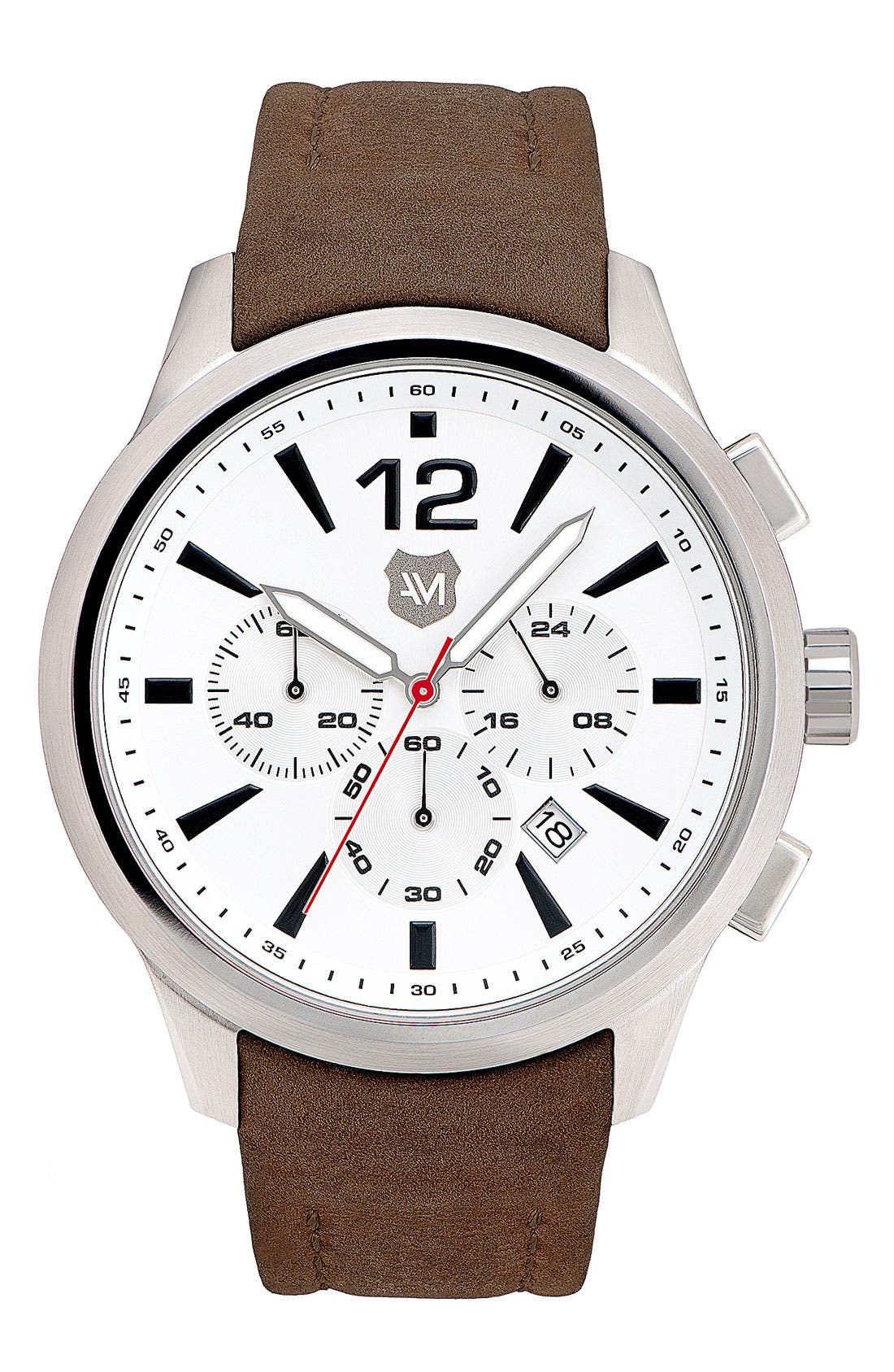 Main Image - Andrew Marc Watches 'Club Varsity' Leather Strap Watch