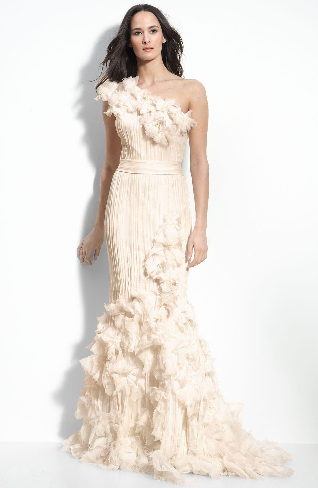 Alternate Image 1 Selected - Tadashi Shoji Rosette Appliqué One Shoulder Chiffon Gown
