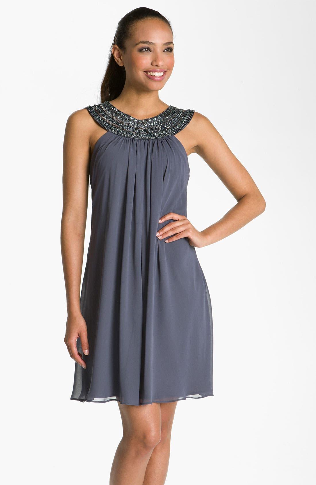 Main Image - JS Boutique Beaded Chiffon Trapeze Dress
