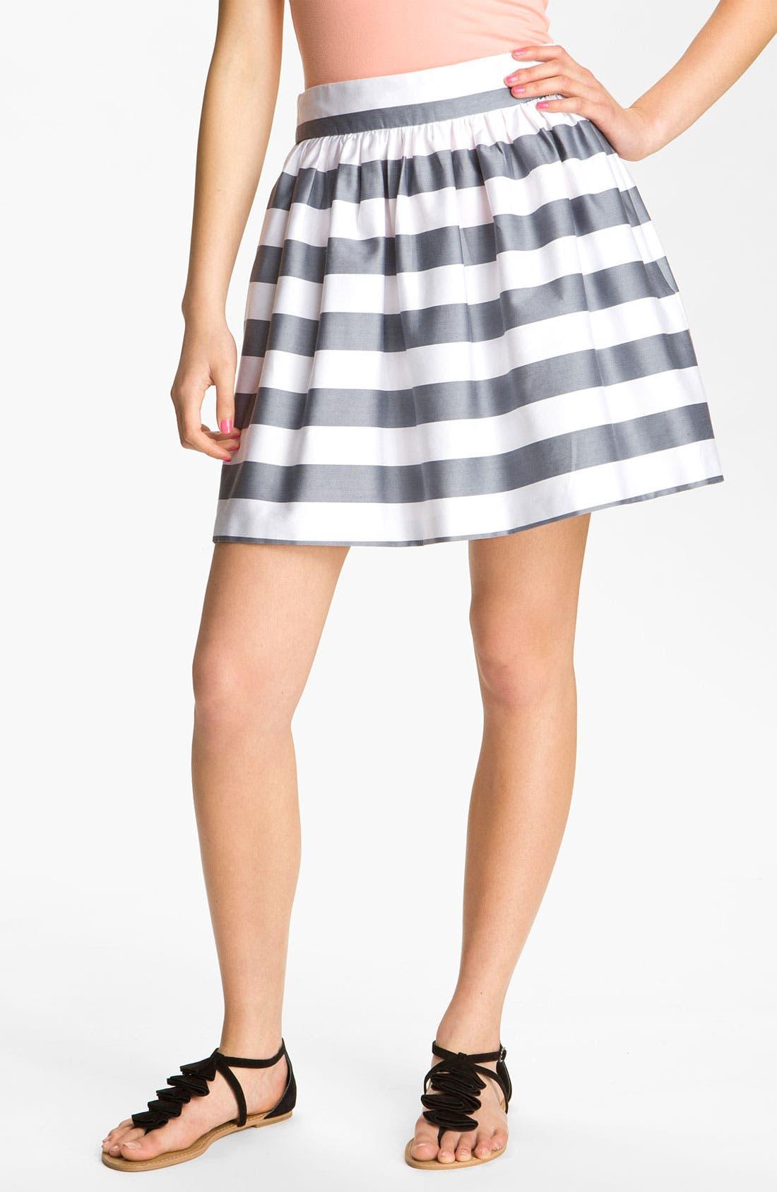 Sateen Full Skirt,                             Main thumbnail 1, color,                             White/ Grey