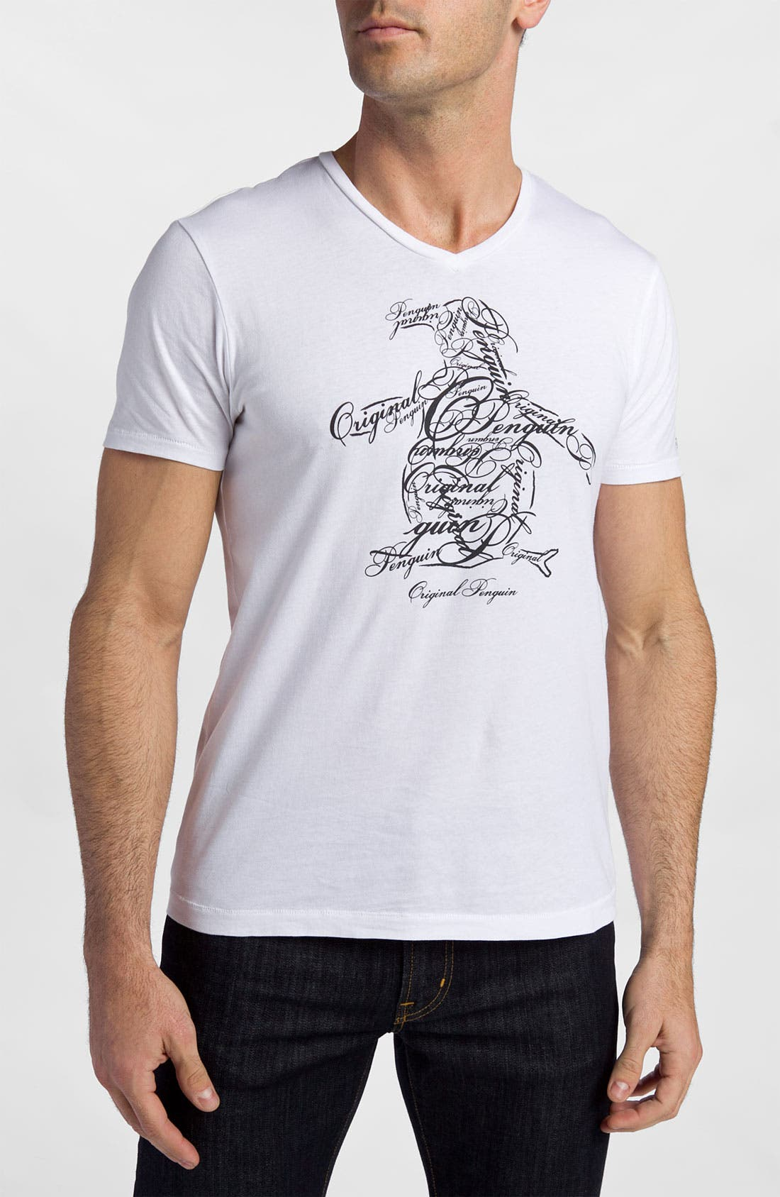 Main Image - Original Penguin 'Script' V-Neck Graphic T-Shirt