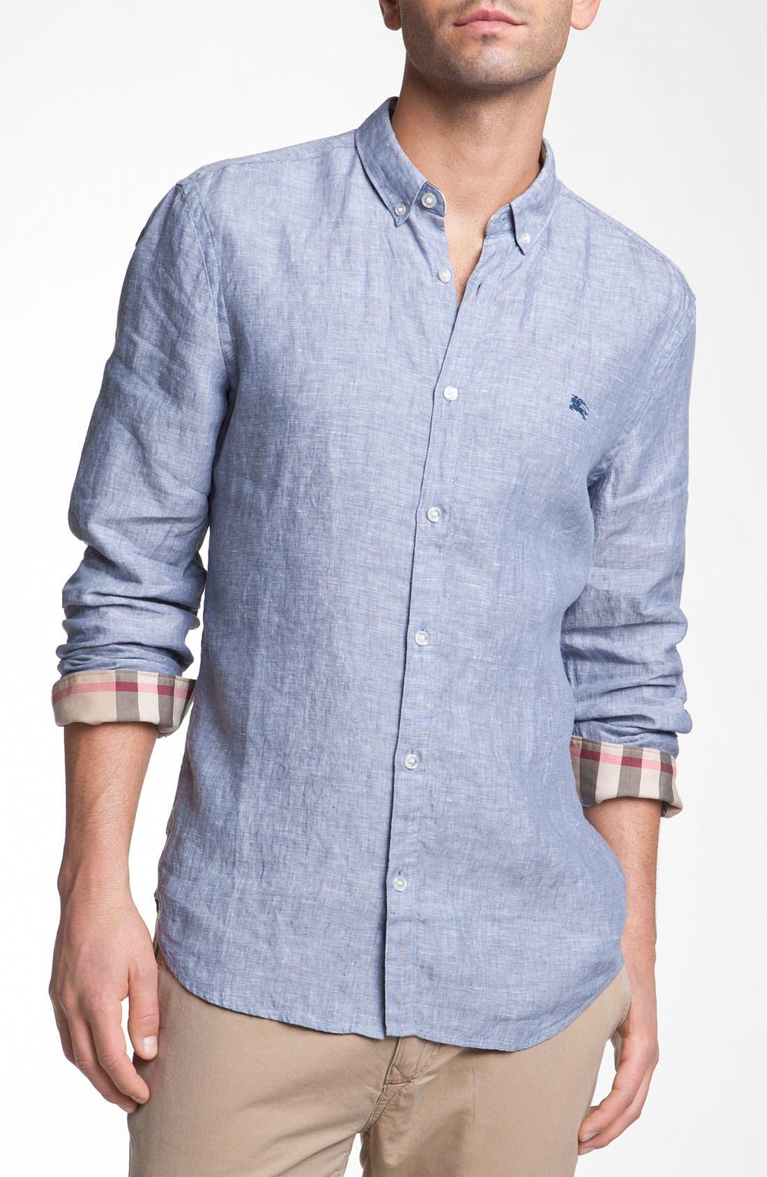Main Image - Burberry Linen Sport Shirt