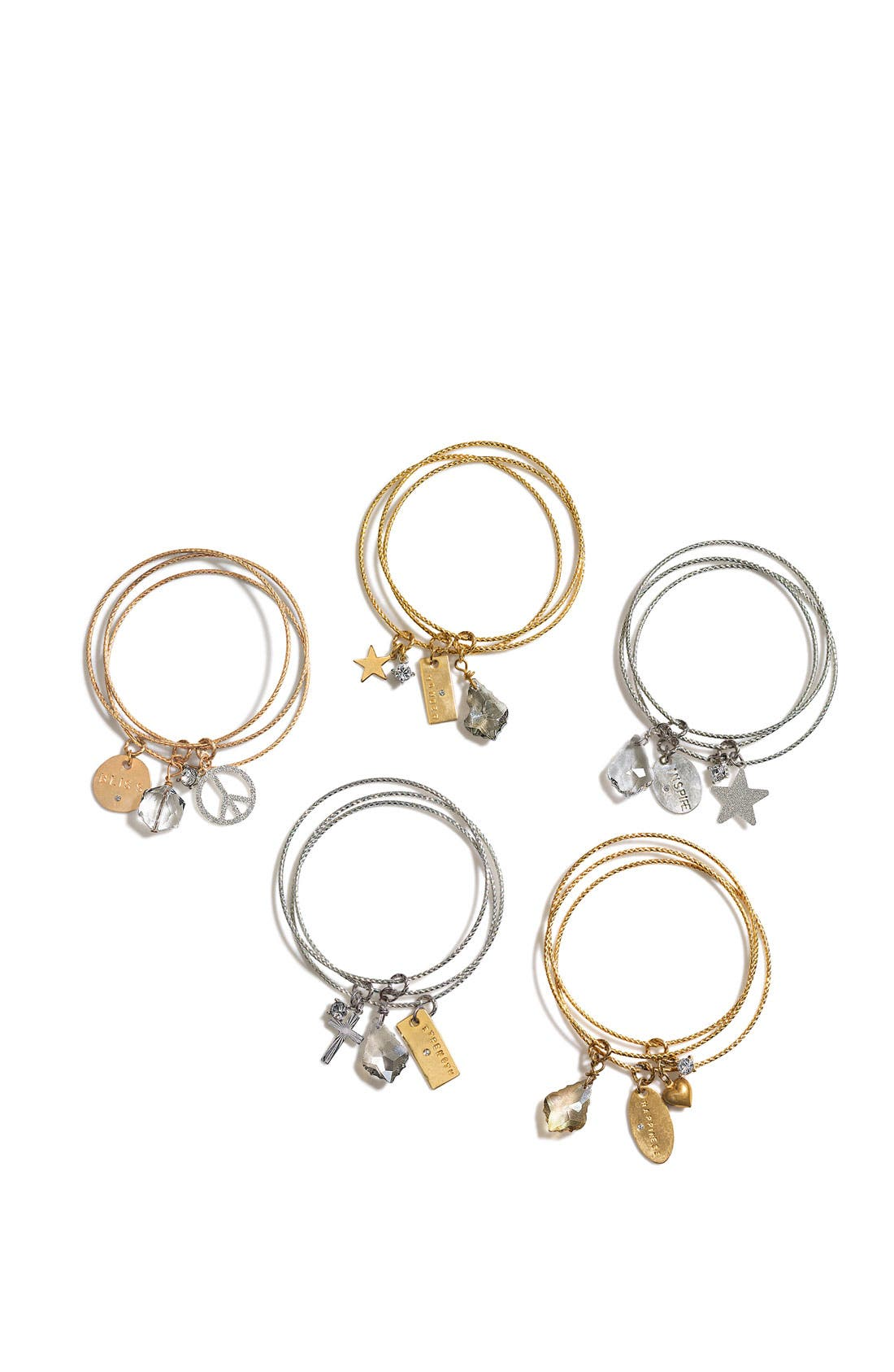 Alternate Image 2  - Nordstrom 'Inspiration Charms - Happiness' Bangles (Set of 3)