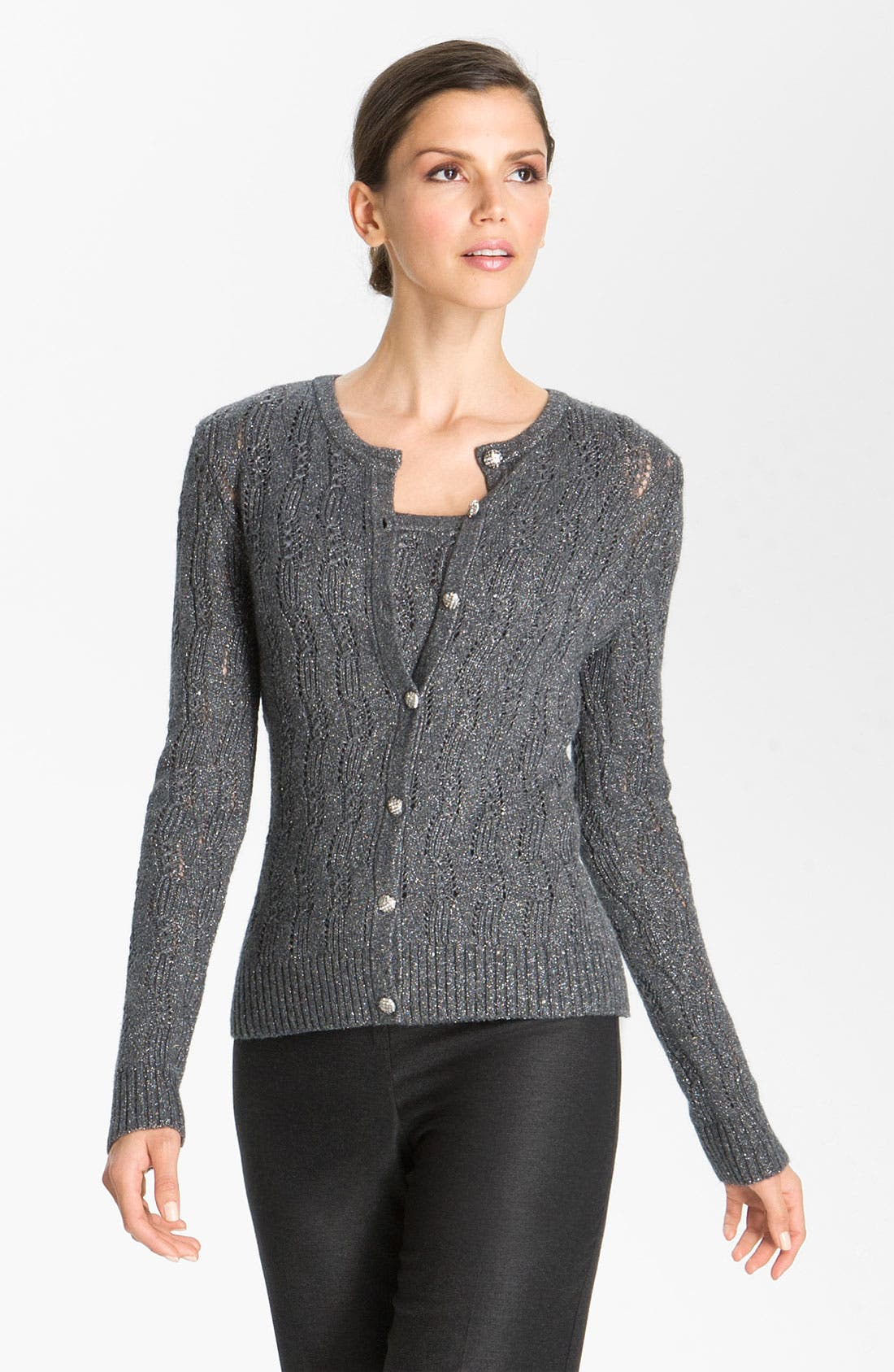 Main Image - St. John Collection Lacy Cable Knit Cardigan