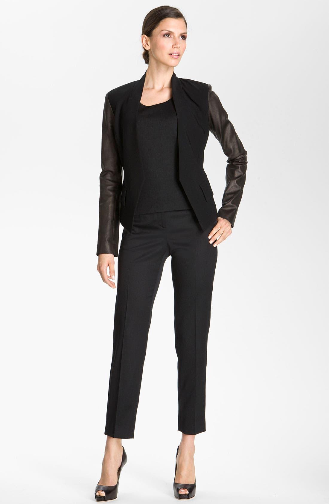 Alternate Image 1 Selected - St. John Collection Crepe Marocain & Leather Jacket