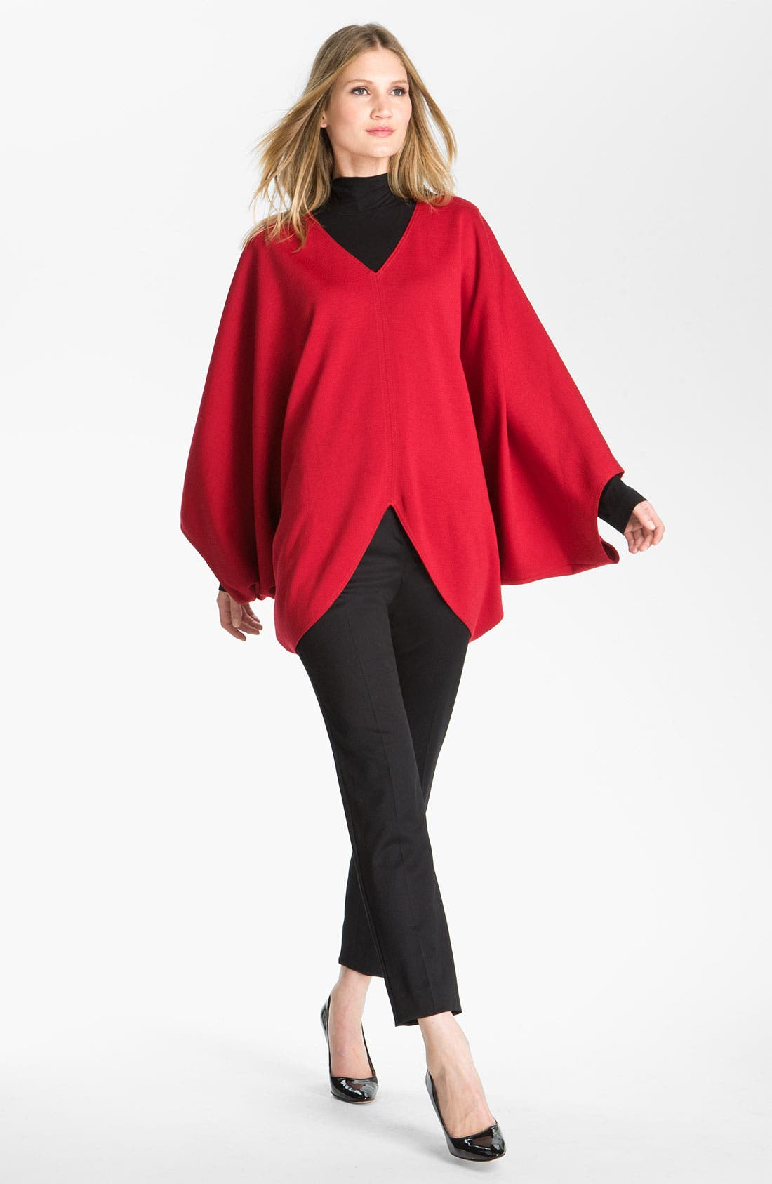 Main Image - St. John Collection V-Neck Milano Knit Poncho