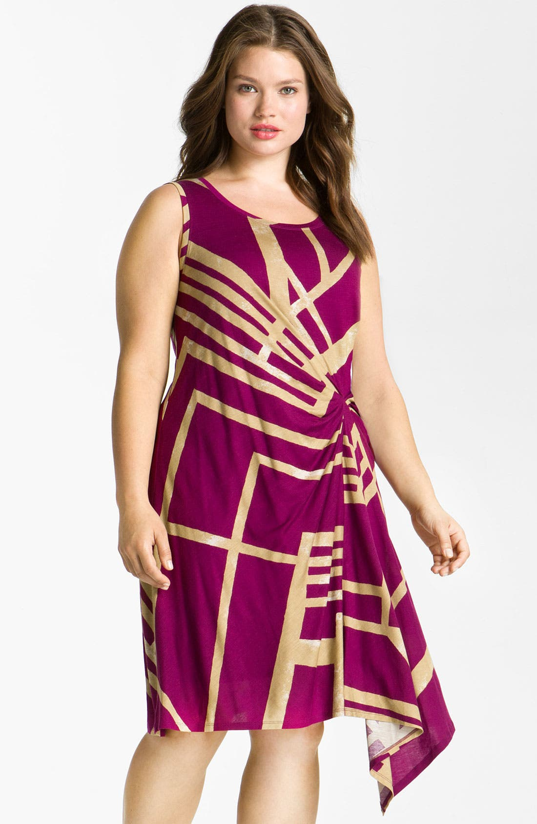 Main Image - DKNYC Draped Sleeveless Dress (Plus)