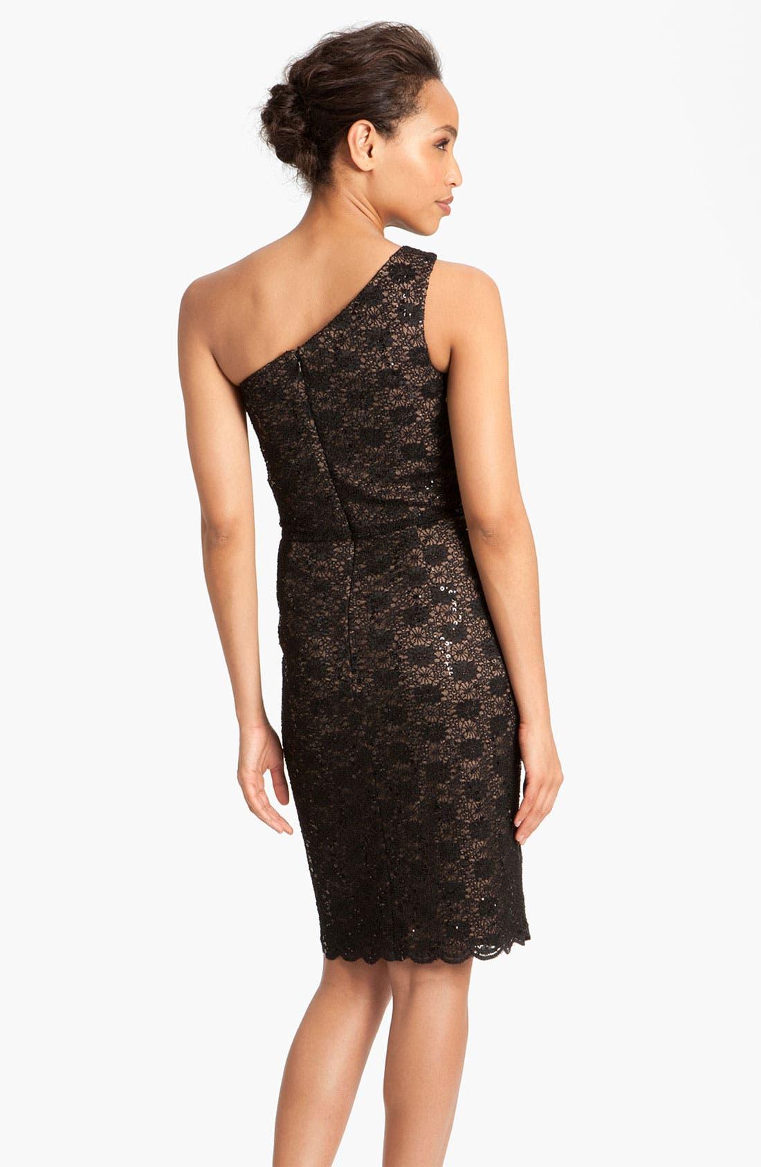 Alternate Image 2  - Alex Evenings One Shoulder Lace Sheath Dress