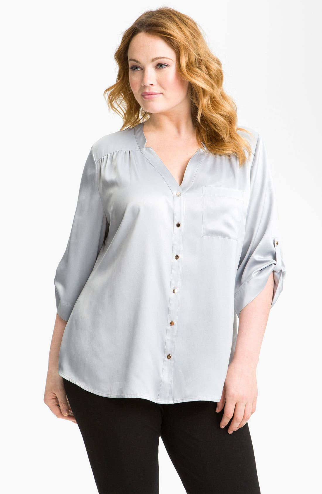 Main Image - Sejour Gold Button Blouse (Plus)