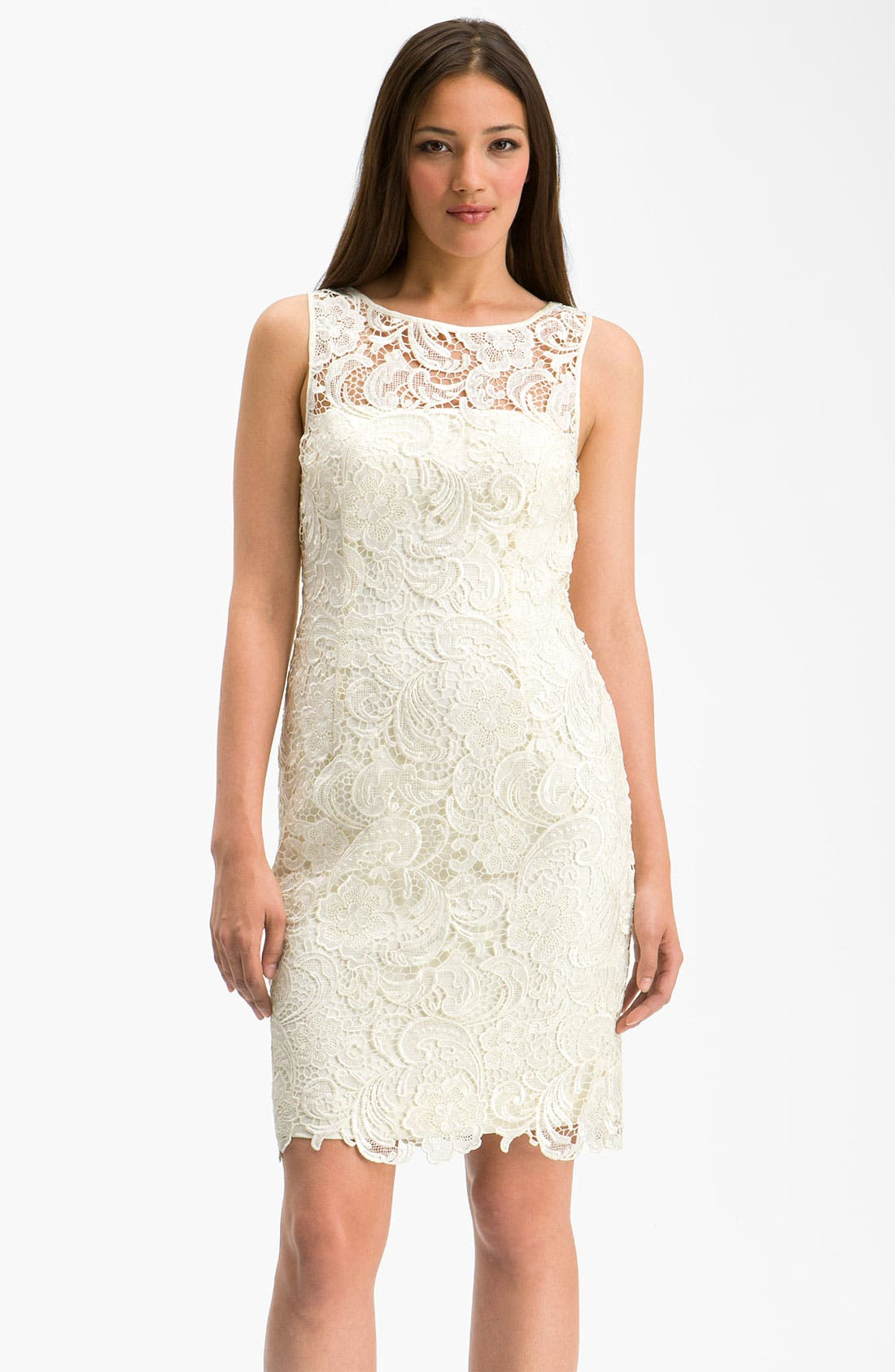 Alternate Image 1 Selected - Adrianna Papell Illusion Neck Lace Sheath Dress