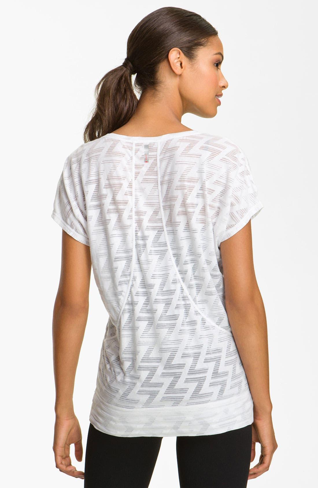 Sheer Pattern Short Sleeve Tee,                             Alternate thumbnail 2, color,                             White