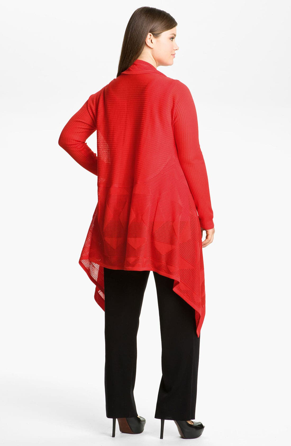 Alternate Image 2  - Exclusively Misook Sheer Drape Front Cardigan (Plus)