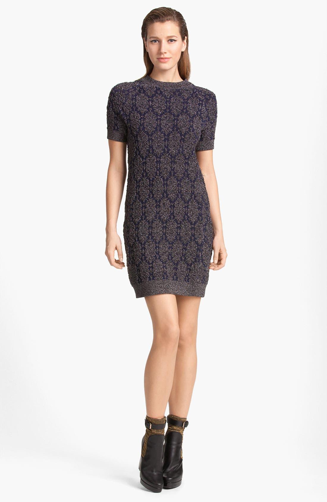 Lamé Knit Dress,                         Main,                         color, Anthracite/ Navy