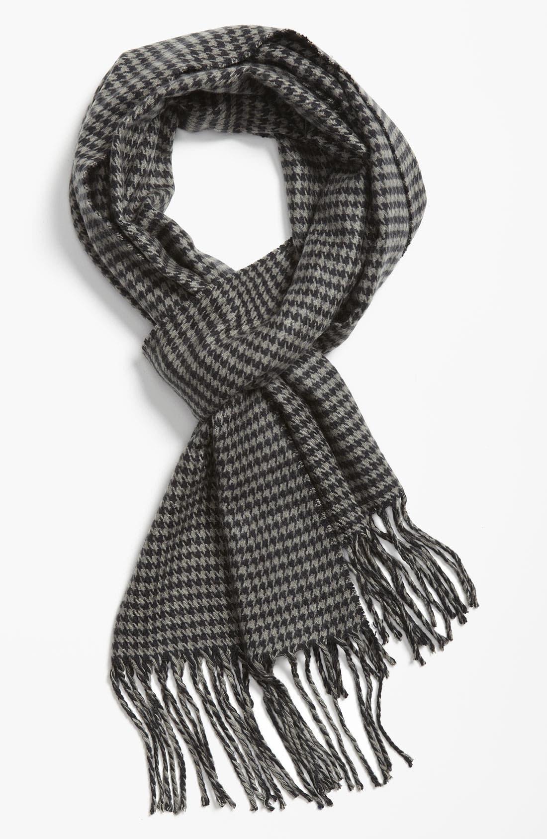 Mini Houndstooth Knit Scarf,                             Main thumbnail 1, color,                             Black/ Grey