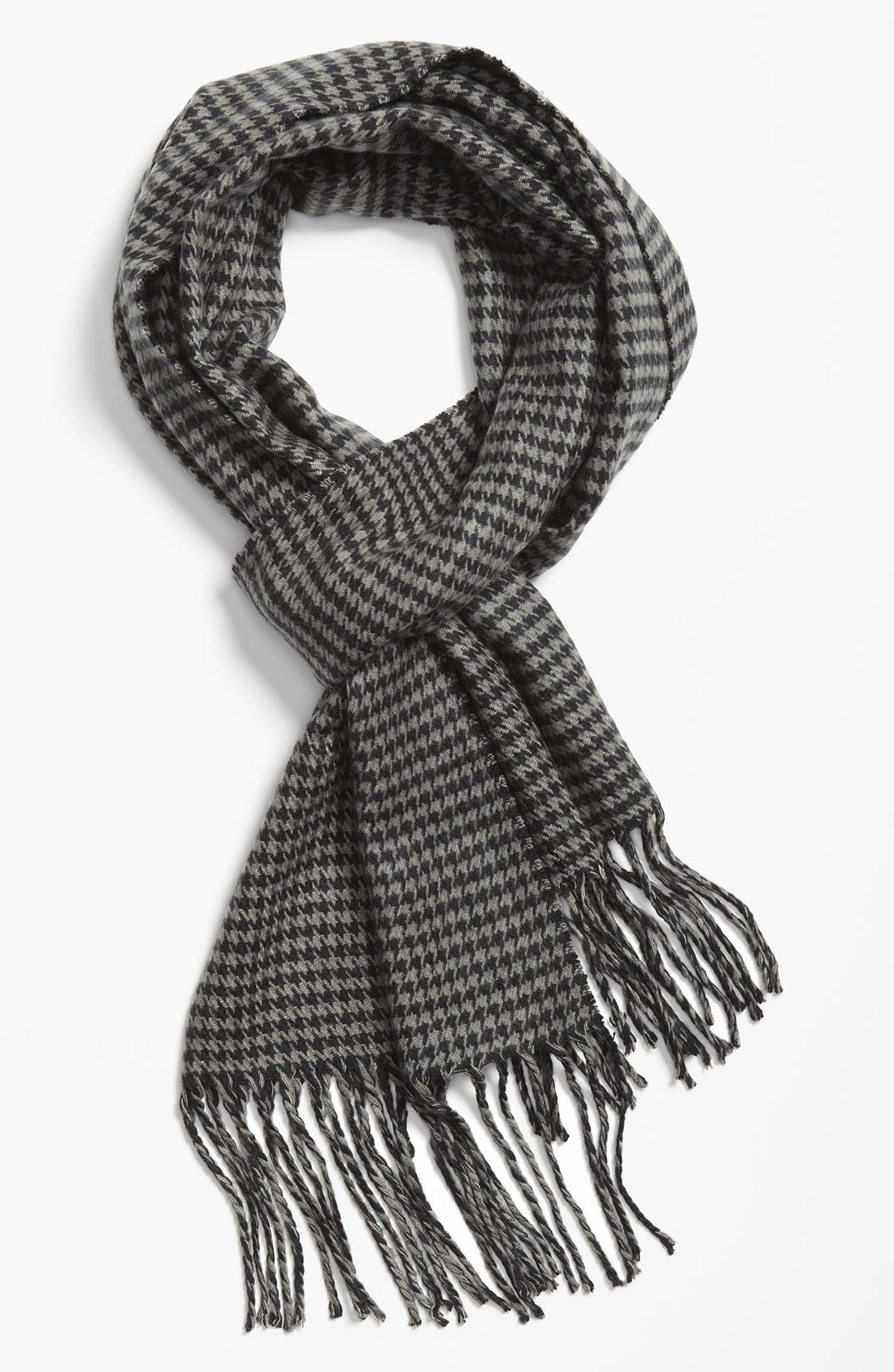 Mini Houndstooth Knit Scarf,                         Main,                         color, Black/ Grey