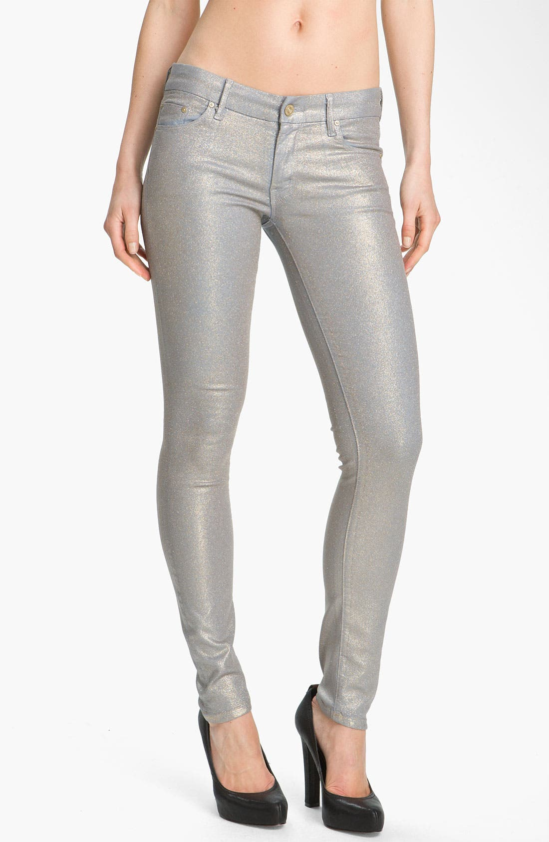 'The Looker' Skinny Stretch Jeans,                             Main thumbnail 1, color,                             Powder Blue Glimmer
