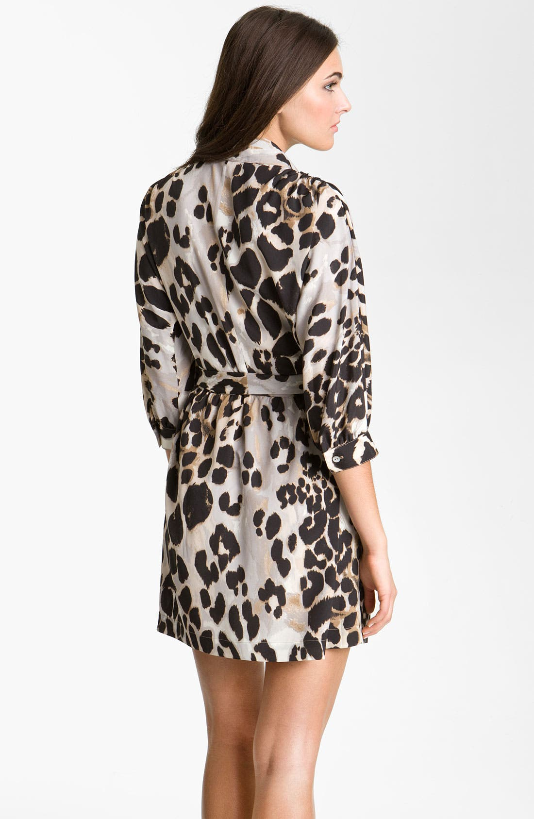 Alternate Image 2  - Eliza J Animal Print Crêpe de Chine Shirtdress