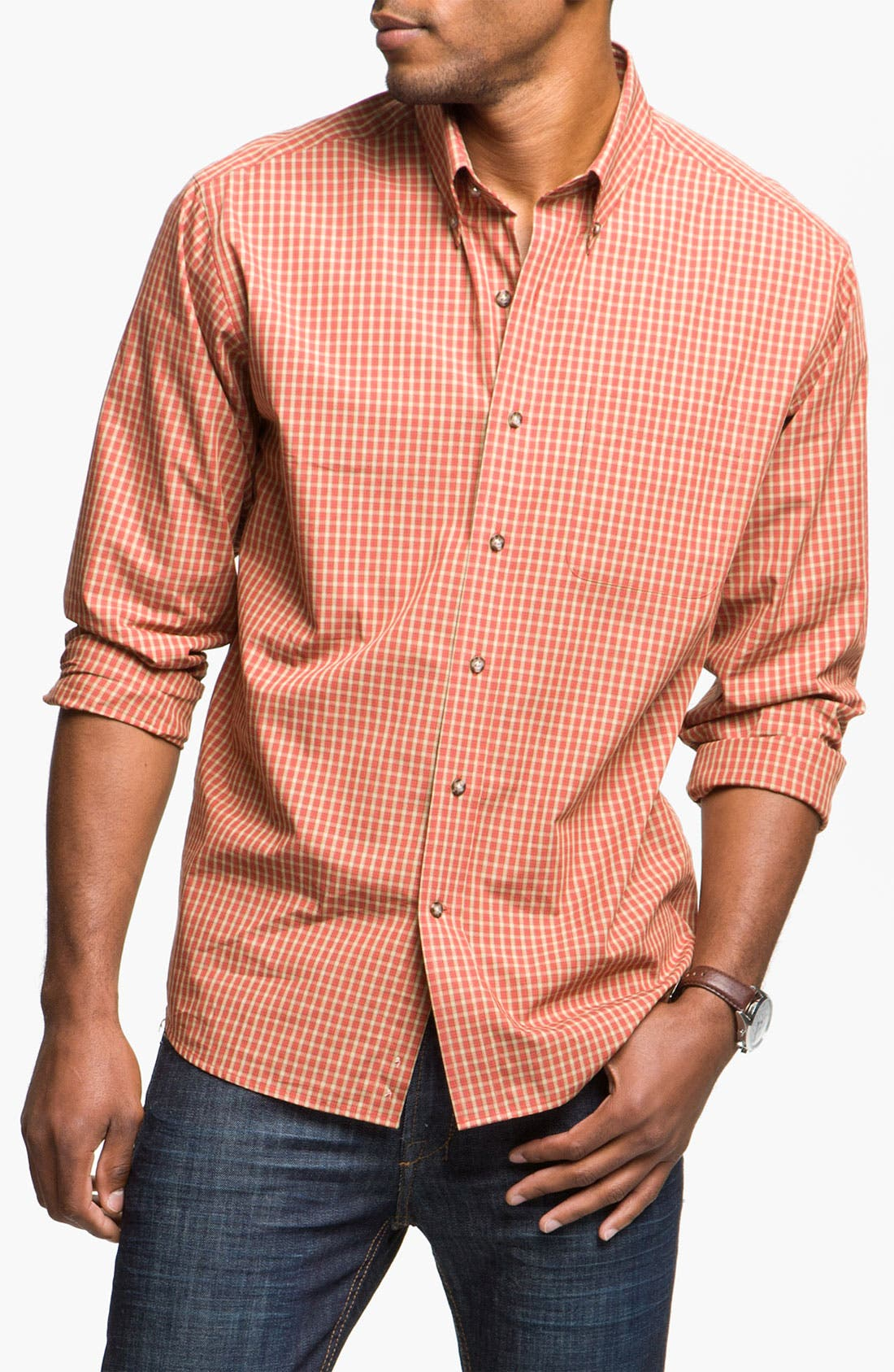 Alternate Image 1 Selected - Cutter & Buck 'Spruce' Check Sport Shirt (Big & Tall)