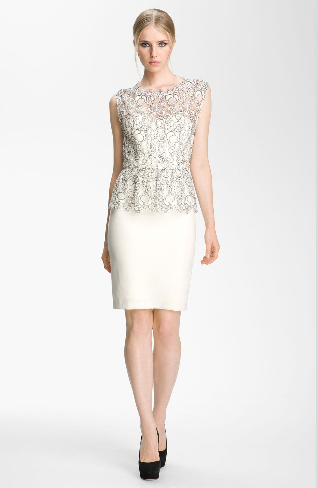 Main Image - Alice + Olivia 'Shovan' Lace Overlay Peplum Dress