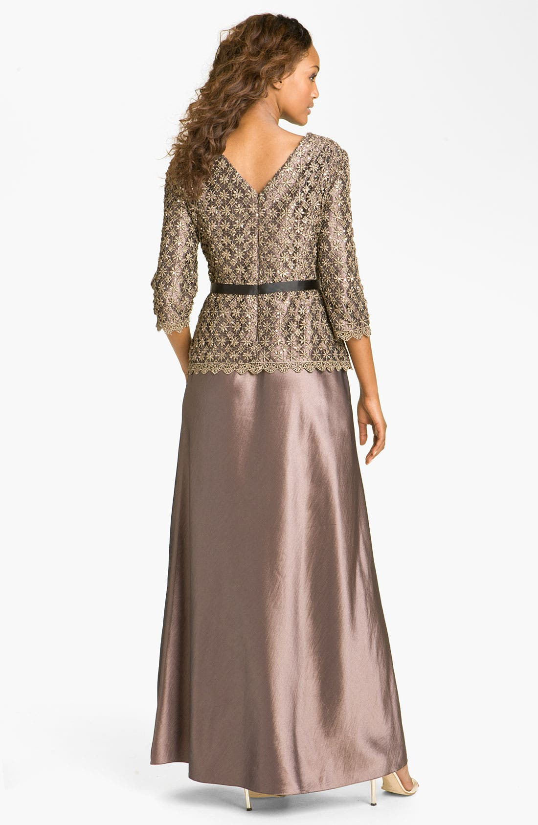 Alternate Image 2  - Alex Evenings Two-Piece Lace Overlay Taffeta Dress