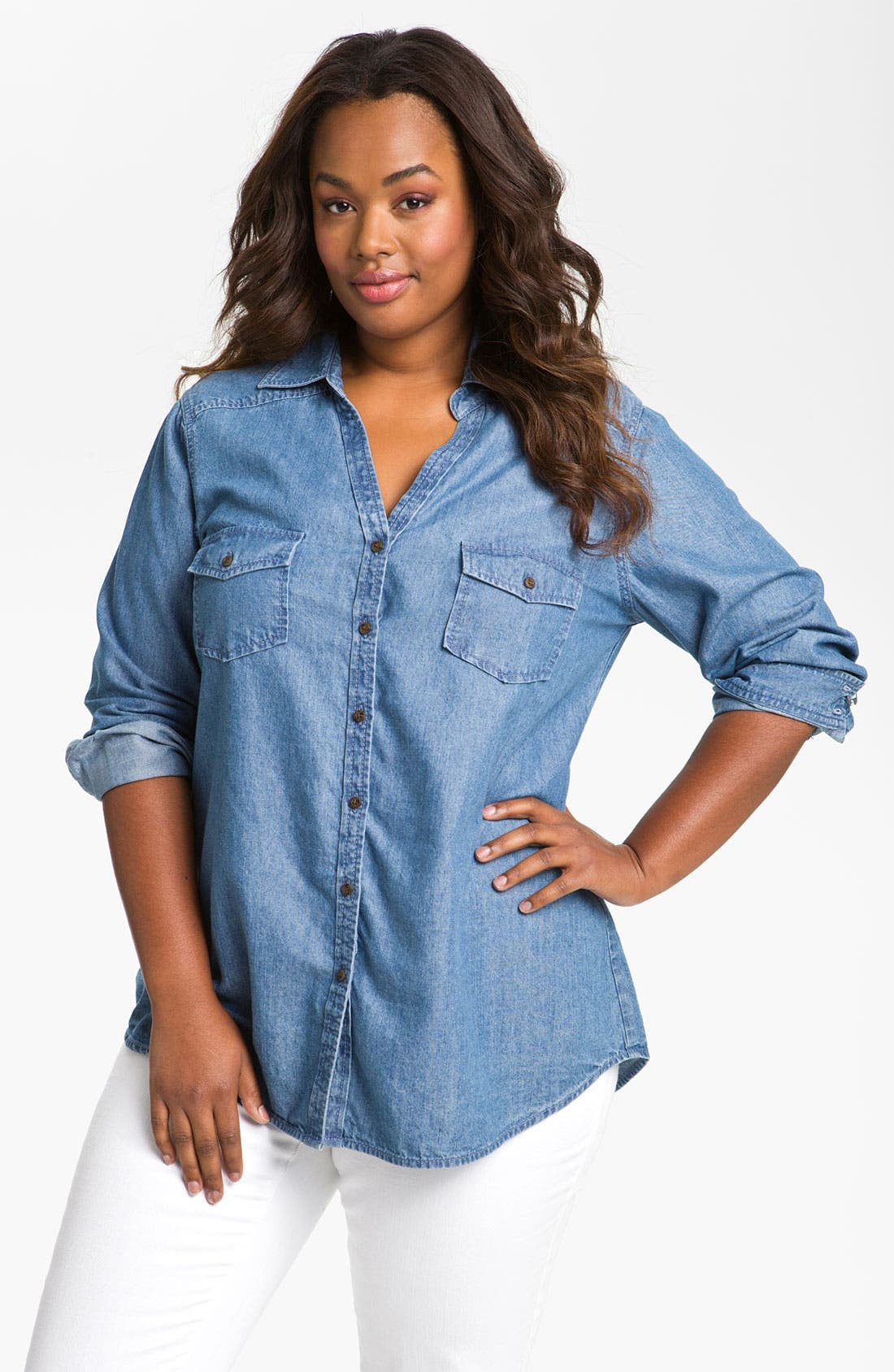 Main Image - Sejour Split Neck Chambray Shirt (Plus)