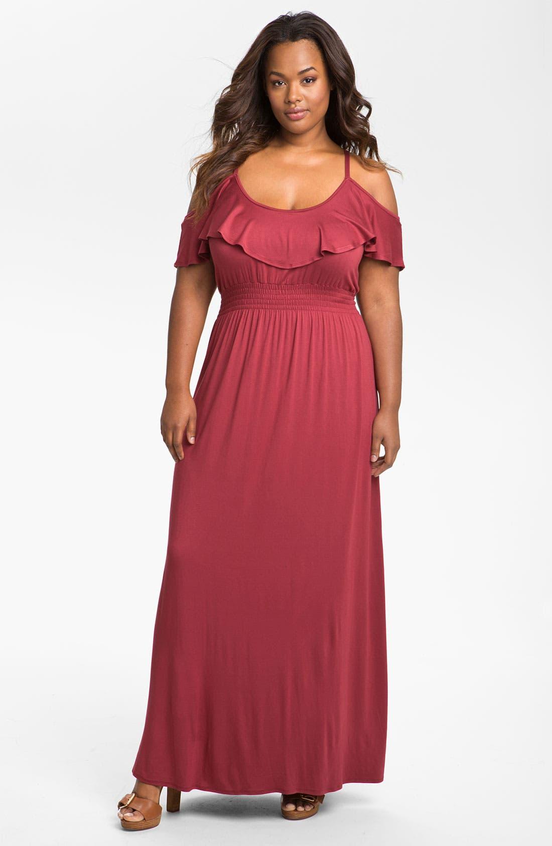 Alternate Image 1 Selected - Bellatrix Ruffle Knit Maxi Dress (Plus)