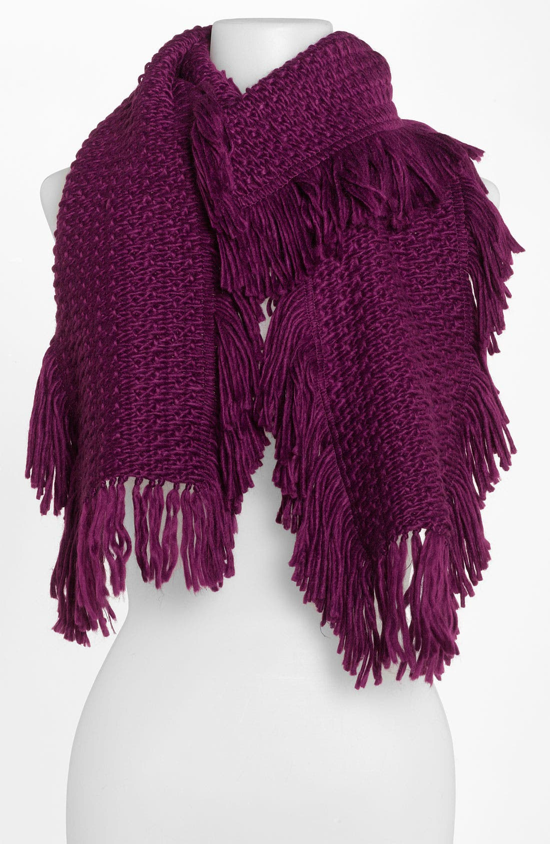 Fringed Knit Scarf,                         Main,                         color, Plum Wine