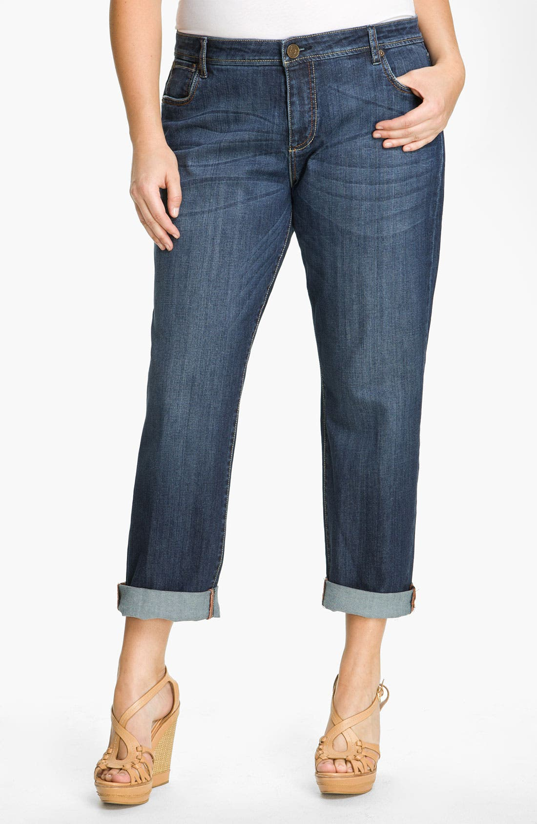 Alternate Image 2  - KUT from the Kloth Slim Boyfriend Jeans (Plus)