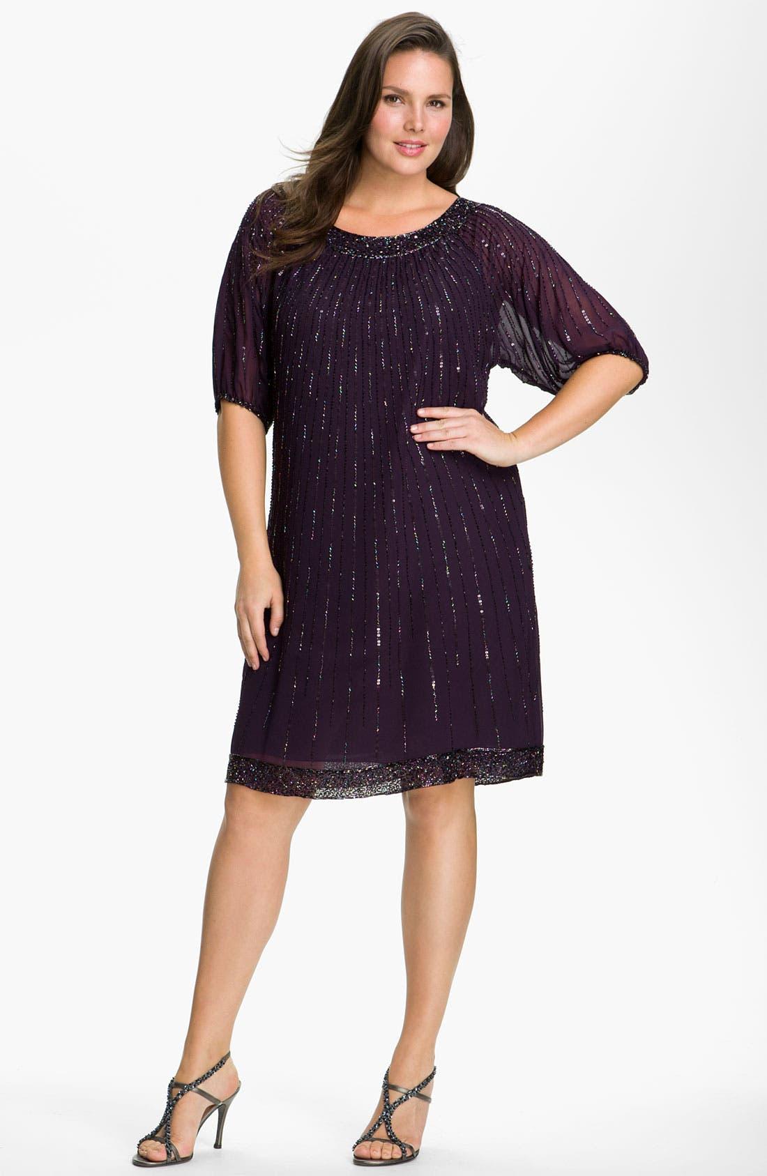 Main Image - J Kara Sequin Chiffon Shift Dress (Plus Size)