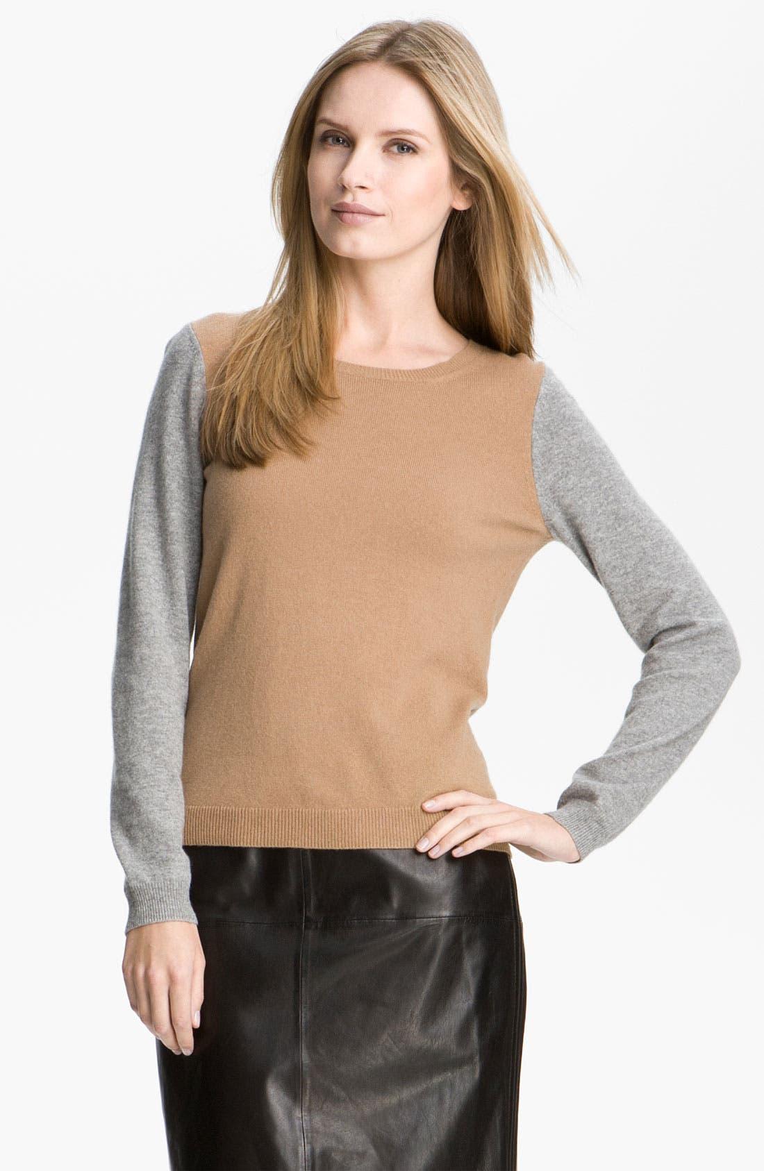 Main Image - BOSS Black Colorblock Cashmere Sweater