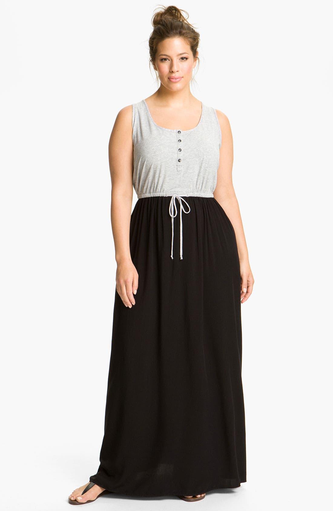Alternate Image 1 Selected - Splendid Mixed Media Maxi Dress (Plus)