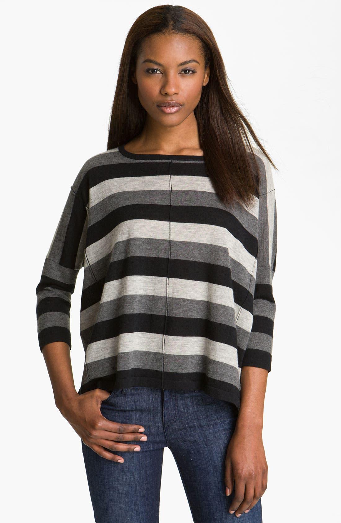 Alternate Image 1 Selected - autumn cashmere Stripe Boxy Cashmere Tee