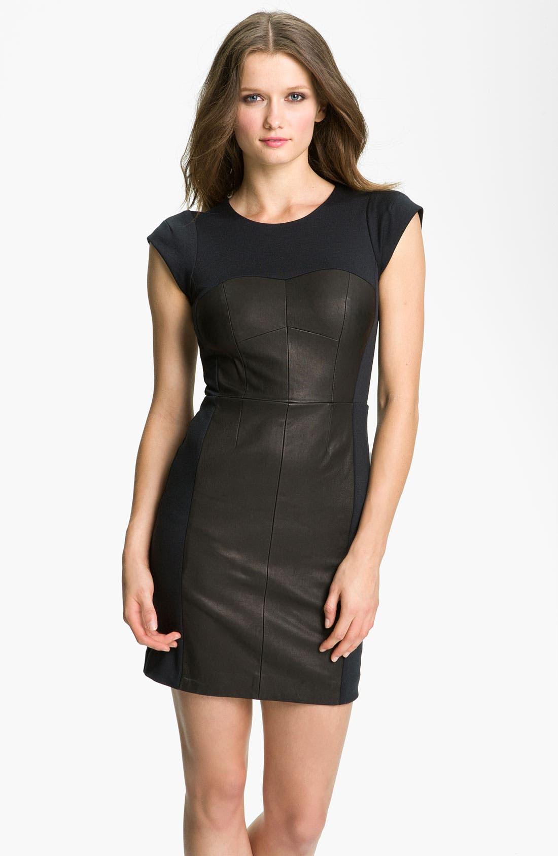 Alternate Image 1 Selected - Rebecca Taylor Colorblock Leather Sheath Dress