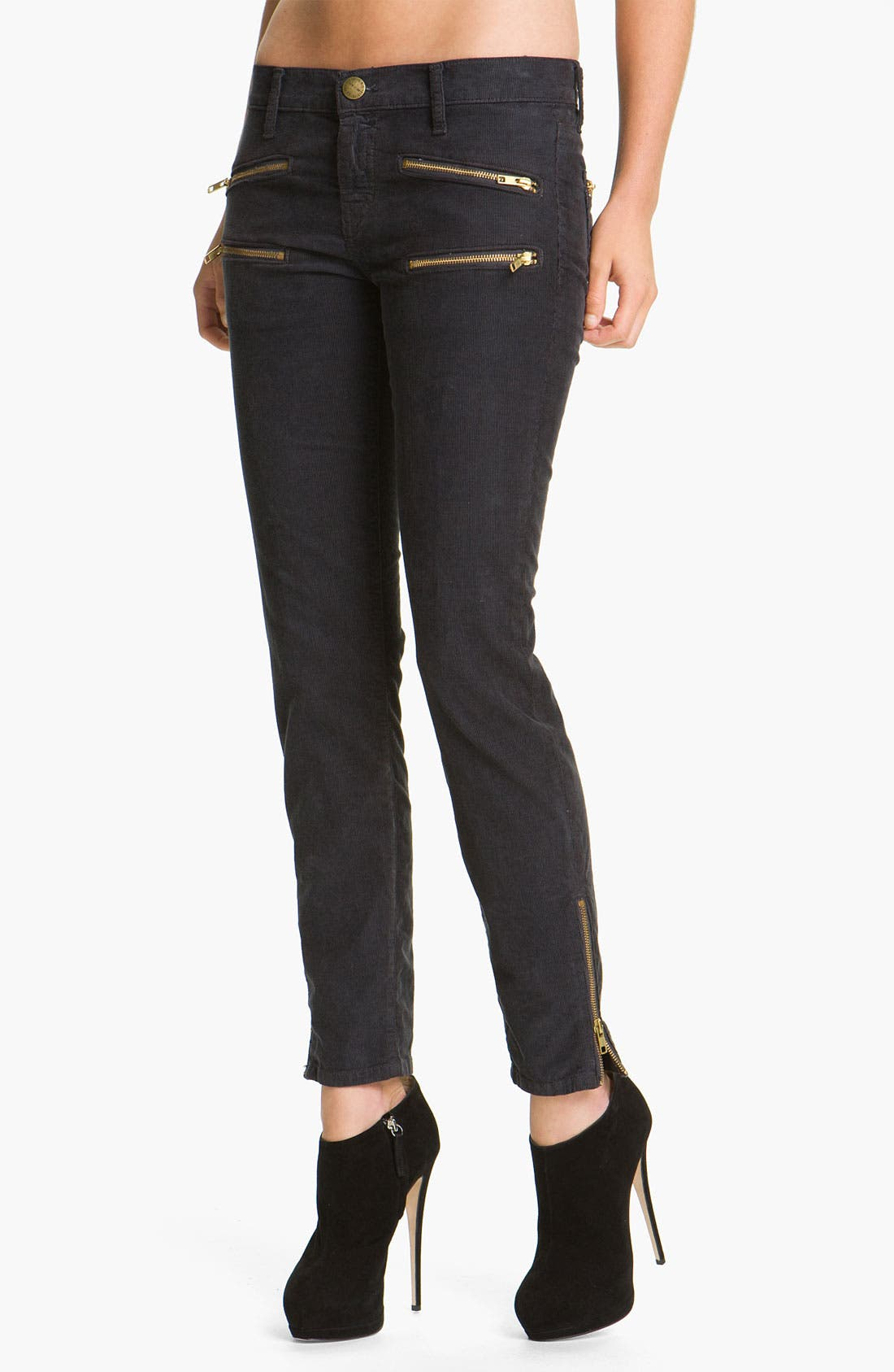 Main Image - Current/Elliott 'The Stiletto' Moto Skinny Jeans (Shadow)