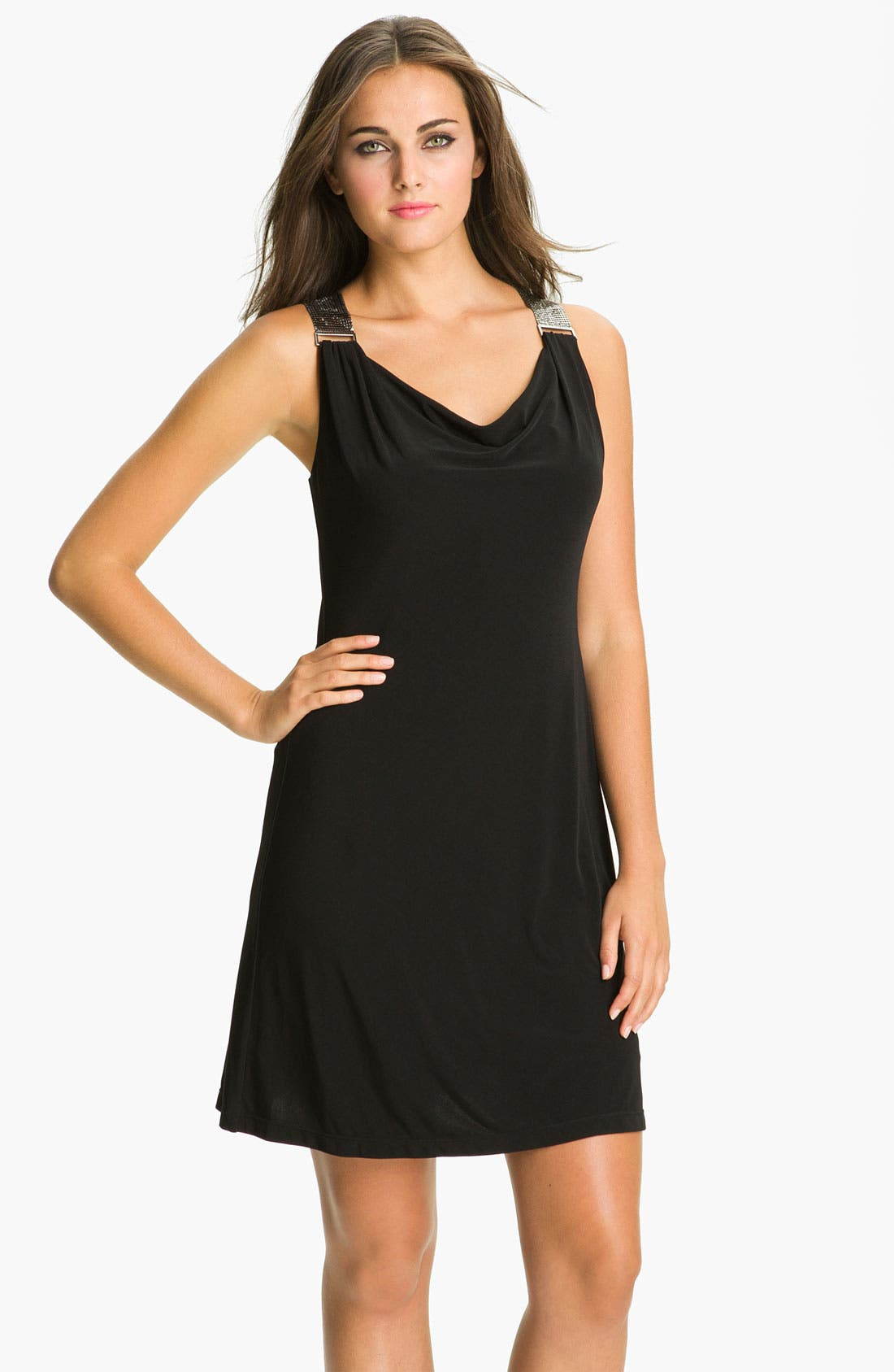 Main Image - Calvin Klein Chainmail Strap Jersey Dress
