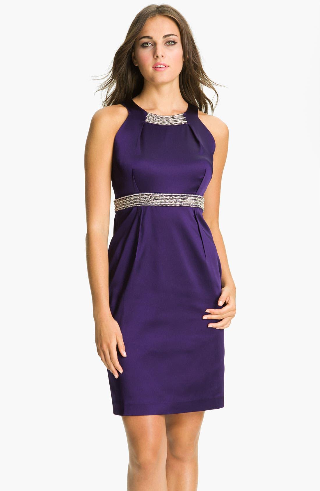 Alternate Image 1 Selected - Calvin Klein Embellished Trim Satin Sheath Dress