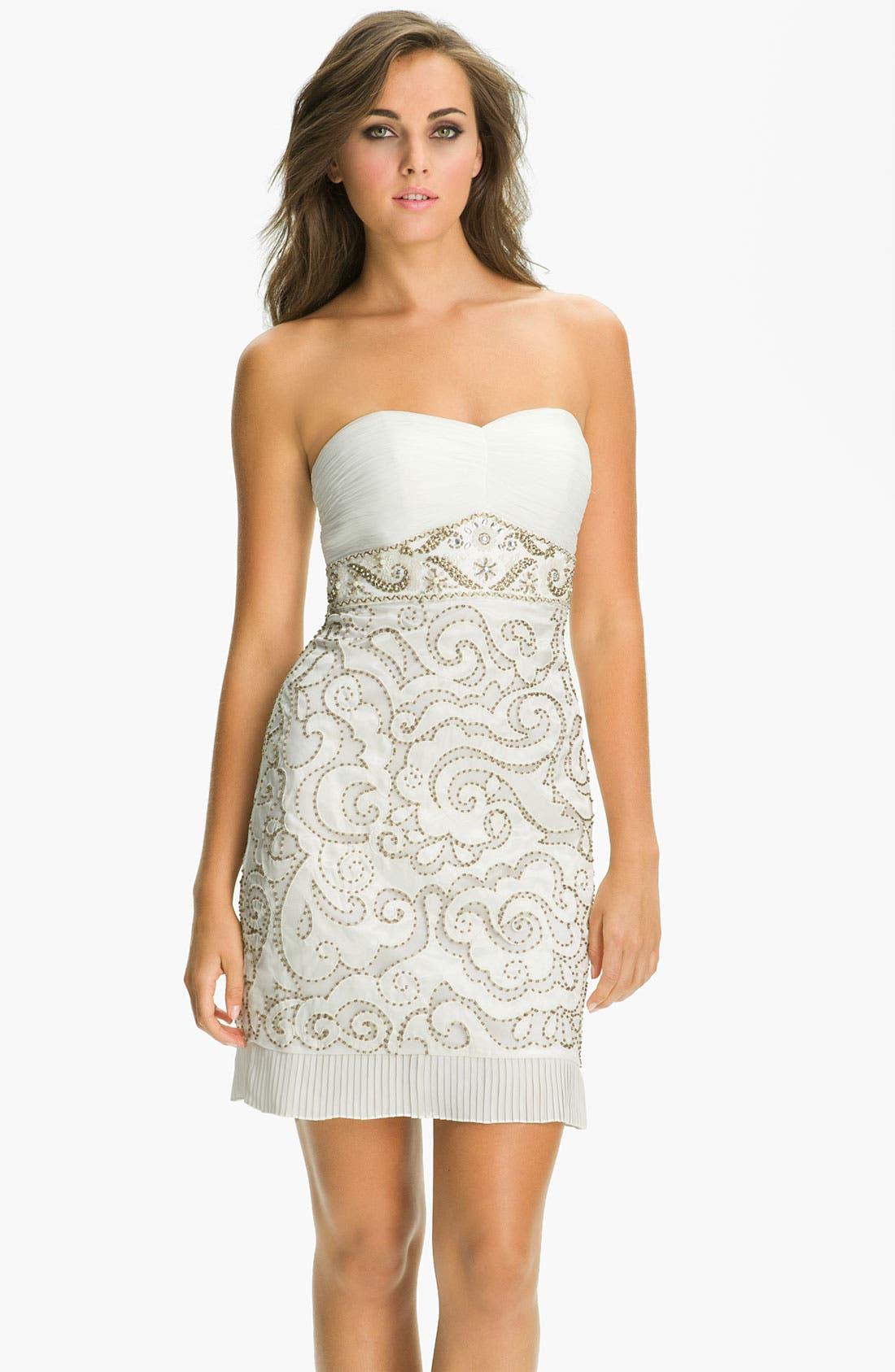 Embellished Sweetheart Sheath Dress,                         Main,                         color, White