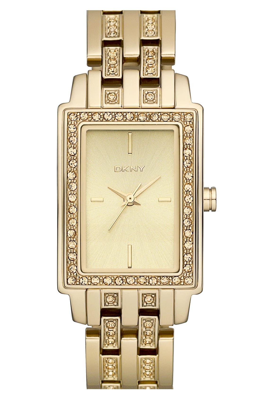 Crystal Detail Rectangular Bracelet Watch, 23mm x 28mm,                             Main thumbnail 1, color,                             Gold